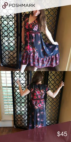 BOHO FLORAL HI LOW DRESS Size xl. This is a reposh, it is super cute, it has 7 hook eye to clasp at bust. Mayerial is soft. Loved it, treat as new, never worn. Dresses High Low