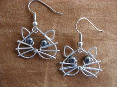 HEMATITE eyes CAT EARRINGS wirework by chatnoir77 on Etsy, $14.00