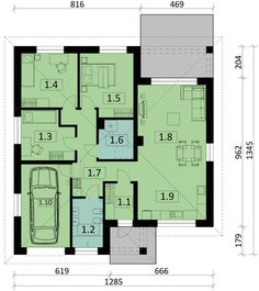 DOM.PL™ - Projekt domu PJK Ka26 CE - DOM GW1-31 - gotowy koszt budowy 100 M2, House Plans, Floor Plans, How To Plan, Blueprints For Homes, Home Plans, House Design, House Floor Plans, Floor Plan Drawing
