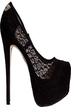 LOLLI COUTURE LACE FAUX LEATHER PLATFORM HIGH HEELS 85 BLACkLACE - Lolli couture pumps for women (*Amazon Partner-Link)