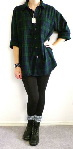 VTG 90s Grunge Green Blue Plaid FLANNEL Shirt Seattle Oversized Boyfriend Sz M  #LLBean