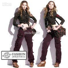 Women Clothing Fashion Women's Camo Cargo Pants Girls Harem Hip Hop Dance Pants Casual Trousers Multi-pockets Baggy Pants 89815