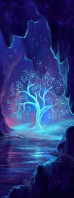 Pretty teal blue glowing tree shining in a cave. Such a neat painting idea!