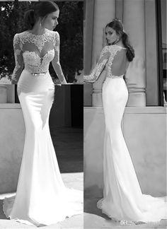 Vestido De Novia 2015 Sexy Sheath Jewel Backless Court Train Illusion Long Sleeve Chiffon Sash Ruched Lace Bridal Gown, $120.42 | DHgate.com