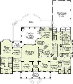 I think this could be my dream home floor plan! Although I'd enlarge the master room, the closets and, a much bigger master bath. I'd add on a library and, maybe a second office. Add a second story with a terrace! What a great floor plan! 4 Bedroom House Plans, Dream House Plans, House Floor Plans, My Dream Home, Dream Homes, The Plan, How To Plan, Plan Plan, Home Design