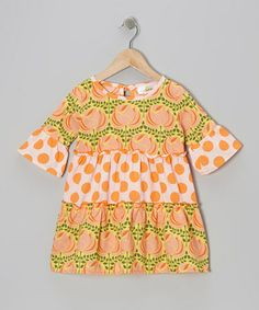 Take a look at this Orange Polka Dot Rose Tiered Dress - Infant, Toddler & Girls by Right Bank Babies on #zulily today!