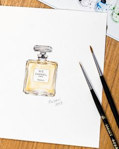 Chanel No. 5 perfume bottle original watercolour painting | unique aquarelle, small painting | photorealistic fashion illustration Chanel Perfume, Zen Art, Watercolor Artwork, Small Paintings, Surface Pattern Design, Designing Women, Really Cool Stuff, Photo Art, Branding Design