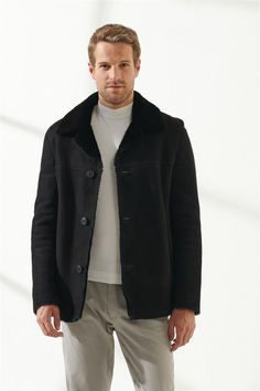 DENNIS Men Casual Black Shearling Jacket Black Noble   Luxury Shearling Black Shearling Jacket, Shearling Coat, Black Pattern, Men Casual, Pure Products, Luxury, Model, Jackets, Clothes