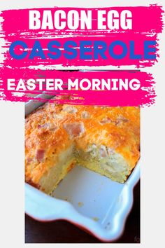 This quick and easy Bacon Egg Casserole is a crowd favorite! This recipe whips up in no time and is a filling and delicious addition to Easter Brunch. Make Ahead Meals, Make Ahead Breakfast, Freezer Meals, Bacon Egg And Cheese Casserole, Canned Biscuits, Yummy Food, Tasty, Easy Casserole Recipes, Christmas Breakfast