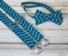Navy Teal Chevron Bow Tie and Suspenders ( Men, boys, baby, toddler, infant Suspender and Bowtie ) outfit