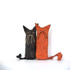 Halloween Orange and Black Cat Dolls
