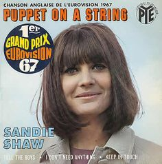 1967 Sandie Shaw: Puppet on a string. single cover.