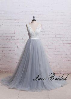 A Line Boho Wedding Dress with Sheer V Cut Back Dusty Blue