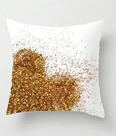 Gold glitter heart pillow