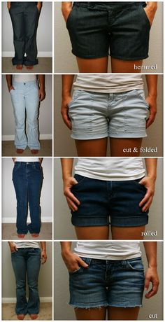 390c8bb123dd Hemmed  1. Turn pants inside out 2. Mark desired length with a line.  Kleidung FrauenKleidung NähenJeans ...