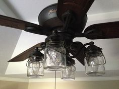 """- How perfect would this be for a farmhouse, cottage, cabin or eclectic home? The first ever Mason Jar Ceiling Fan Light Kit...which happened to be a God given inspiration. * 9"""" drop x 14"""" wide * Ceil"""