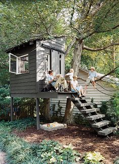 """Backyard Shed """"Tree"""" House. The grey color blends nicely. Backyard Shed """"Tree"""" House. Build A Playhouse, Playhouse Outdoor, Playhouse Ideas, Treehouse Ideas, Simple Playhouse, Outdoor Playset, Outdoor Fun, Outdoor Spaces, Outdoor Living"""