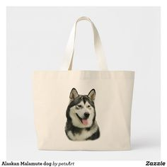 Shop Alaskan Malamute dog Large Tote Bag created by petsArt. Malamute Dog, Alaskan Malamute, Create Your Own Card, Holiday Photos, Large Tote, Funny Cute, Custom Clothes, Colorful Backgrounds, Cute Dogs