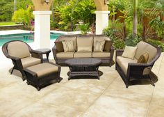 Family Leisure offers patio and casual furniture by Chicago Wicker, including the Georgetown. Discount outdoor furniture on sale now! Patio Furniture Sets, Wicker Furniture, Luxury Furniture, Wicker Headboard, Wicker Couch, Wicker Trunk, Wicker Shelf, Wicker Table, Wicker Baskets