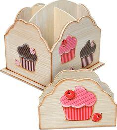 Porta talheres com cupcakes de tecido