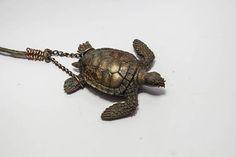 Copper Turtle Necklace Shaman sea life jewelry beach