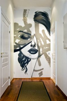 Why not try graffiti on your own walls? If you don't like it - paint over & try again.  Or if you can't commit (like me) do a chalkboard paint wall and use chalk for temporary graffiti. OR if your super confident - more permanent oil pastels. and just give 'er.  -- via I.D. required (great pins)
