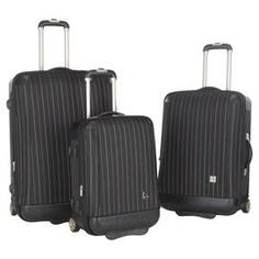"""Jetset in style with this timeless pinstriped luggage set, perfect for weekend jaunts and exotic getaways. 3 rolling suitcases feature inline spinner wheels, ergonomic telescoping handles, and expandable designs.     Product: Small, medium and large rolling suitcaseConstruction Material: Polyester, plastic and aluminumColor: Black  Features:  LightweightImpact-resistantInline spinner wheelsTelescoping handle with push button controlExpandableDimensions: Small: 21.8"""" H x 15.5"""" W x 10"""" ..."""