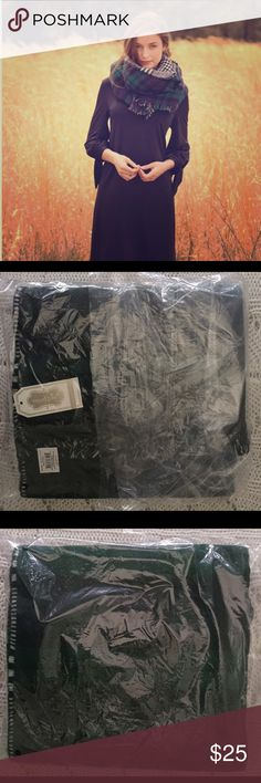 Blanket Scarf BNWT Still in original packaging with tags! Brand New/never worn. Received after desired date needed. Large Dark Green & Deep Navy Blue Plaid Blanket Scarf made of heavy, quality fabric. Very versatile and high fashion item! Description lists dimensions as 22 x 74. **CROSS POSTED** Mud Pie Accessories Scarves & Wraps