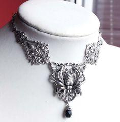 Spider gothic necklace by Pinkabsinthe.deviantart.com on @DeviantArt