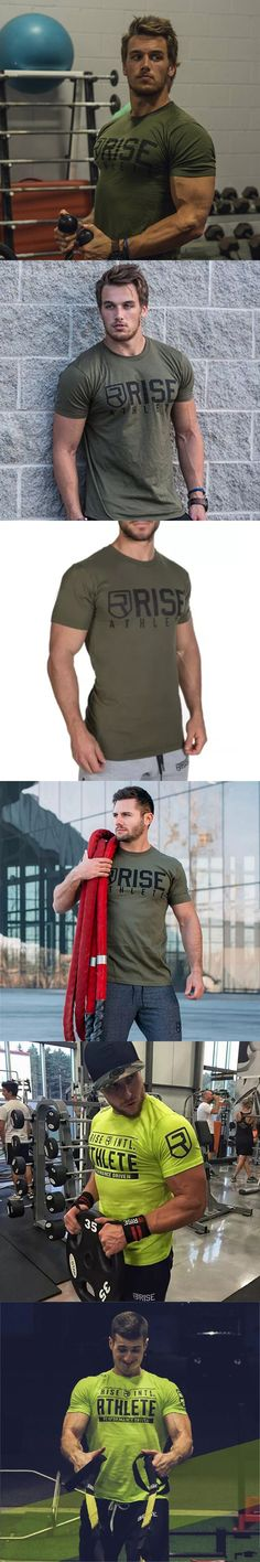 Mens Summer Fashion Leisure t Shirt Crossfit Fitness Bodybuilding Muscle male Short Slim fit Shirts Cotton Tee tops clothing