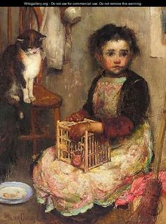 Small Girl With A Cat -1859-1903 Walter Frederick Osborne was an Irish impressionist landscape and portrait painter. Most of his paintings featured women, children, and the elderly as well as rural scenes.