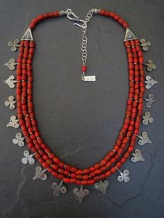 Three Strand Nepalese Glass Beads Necklace with Sahrawi Silver Moroccan Pendants