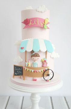 celebration cakes What a cute cake for a little girl's birthday! Baby Cakes, Girly Cakes, Sweet Cakes, Cute Cakes, Pretty Cakes, Beautiful Cakes, Amazing Cakes, Stage Patisserie, Fondant Cakes