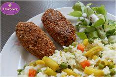 Tofu fasírt - LovelyVeg Tofu, Falafel, Baked Potato, Potatoes, Vegetarian, Meat, Baking, Ethnic Recipes, Potato
