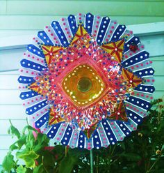 Glass Plate Flower For Your Garden Decor in Candy by pollysyardart, $30.00