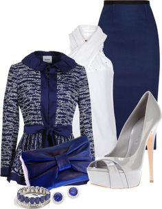 A fashion look from March 2013 featuring strappy top, print blazer and blue pencil skirt. Browse and shop related looks. Church Attire, Church Outfits, Office Outfits, Church Clothes, Modest Fashion, Fashion Outfits, Womens Fashion, Fashion Clothes, Business Fashion