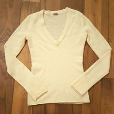 J. Crew Cashmere Fitted-T Sweater Long sleeve v-neck fitted t sweater, 100% cashmere J. Crew, perfect like new condition. Size tag removed, but XXS. Off-white J. Crew Sweaters V-Necks
