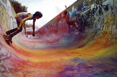 chalk, skateboard ramp