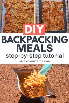 Learn exactly how to dehydrate your own backpacking food with this step-by-step tutorial! This guide will show you how to cook, dehydrate, package, and rehydrate your diy backpacking meals. Dehydrated Backpacking Meals, Ultralight Backpacking, Dehydrated Food, Camping Meals, Food For Backpacking, Camping Food Vegan, Easy Camping Food, Backpacking Europe, Trekking Food