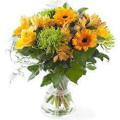 Geel gemengd boeket #bloemen