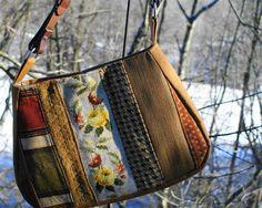 Handmade fabric shoulder bag/purse/upcycled needlework/vintage needlepoint/ roses/butternut canvas/   leather belt/ Gem 2