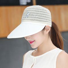 Women Ladies Summer Anti-UV Sun Protective Straw Hats Beach Outdoor Visor Caps