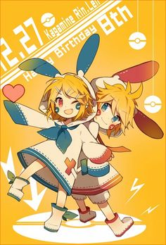 Cute Plusle and Minun crossover with Rin and Len