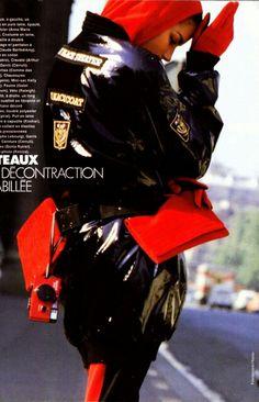 Elle France October 1986  Manteaux Des Createurs Photographer: Friedemann Hauss Model: Veronica Webb