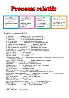 Worksheets 251427591679862982 - Pronoms relatifs Source by French Language Lessons, French Language Learning, French Lessons, French Expressions, French Teaching Resources, Teaching French, How To Speak French, Learn French, French Sentences