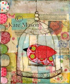 Birdy Birdcage PRINT Sweet Pink Bird. $20.00, via Etsy.
