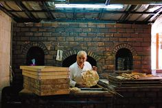 Traditional flat bread fresh from the oven at Resthouse, in ancient Jerash, Jordan.