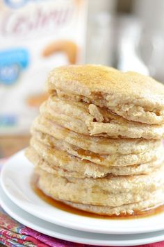 Cashewmilk Whole Wheat Pancakes - These pancakes are so soft and fluffy, your kids won't guess that they're healthy too! Banana Chocolate Chip Pancakes, Cashew Milk, Breakfast Pancakes, Pancakes And Waffles, Breakfast Recipes, Brunch Recipes, Breakfast Time, School Breakfast, Breakfast Ideas