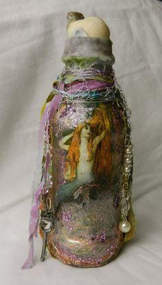 Mermaid altered bottle
