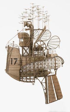 Cardboard, steampunk, dieselpunk miniature, model, airship, flying, machine, zeppelin, art, blimp, made by jeroen van Kesteren